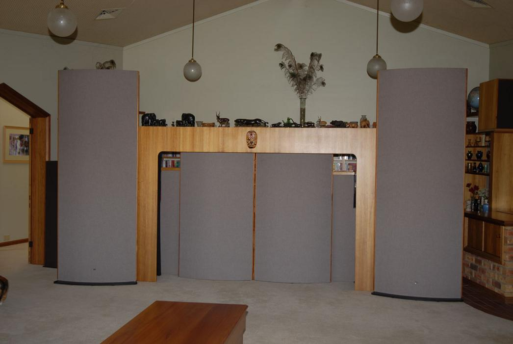 Sound Lab Majestic 945 speakers and custom reduced height Majestics as center channel